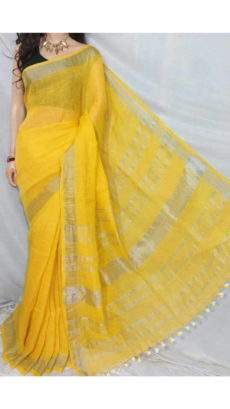Lemon Yellow Linen Saree with Striped Pallu perfect for occasions-yespoho