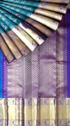 Safair color with rich zari design body and purple color zari pallu Kanchipuram pure silk saree-yespoho