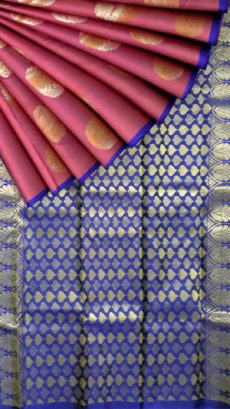 Maroon color with body butta and Royal blue pallu borderless pure silk Kanchipuram saree-yespoho