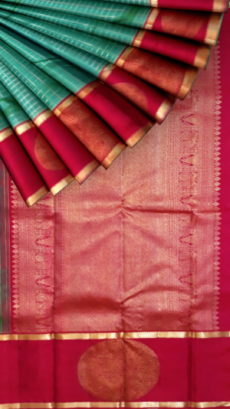Teal and Magenta color pallu and round zari butta pure zari Kanchipuram silks saree-yespoho