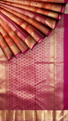 Rose-Orange color with rich magenta pallu and flower zari butta pure zari Kanchipuram silks saree-yespoho