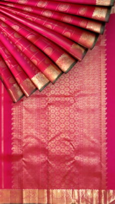 Light Magenta with rich zari butta  and zari border pure zari Kanchipuram silks saree-yespoho