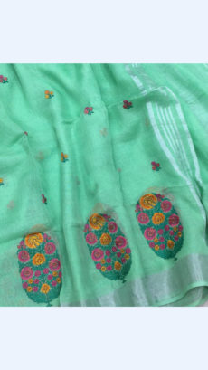 Pure Handloom Cool Green Lenin Sarees With Floral Butta Embroidery Work With Silver Border-yespoho