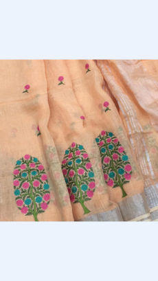 Pure Handloom Peach Lenin Sarees With Floral Butta Embroidery Work With Silver Border-yespoho