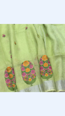 Pure Handloom Light Green Lenin Sarees With Floral Butta Embroidery Work With Silver Border-yespoho