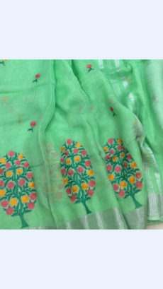 Pure Handloom Sea Green Lenin Sarees With Floral Butta Embroidery Work With Silver Border-yespoho