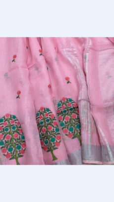 Pure Handloom Baby Pink Lenin Sarees With Allover Butta Embroidery Work With Silver Border-yespoho