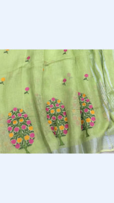 Pure Handloom Pista Green Lenin Sarees With Allover Butta Embroidery Work With Silver Border-yespoho