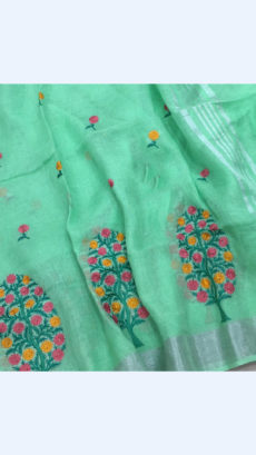 Pure Handloom Light Teal linen Sarees With Allover Butta Embroidery Work With Silver Border-yespoho