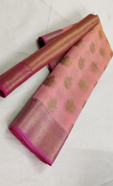 Peach Banarasi Soft Silk Saree with Fancy Design Pallu-yespoho