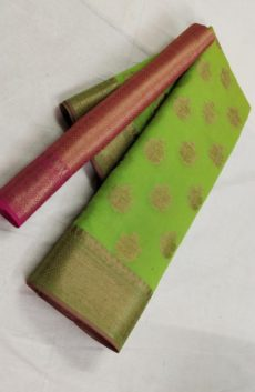 Green Banarasi Soft Silk Saree with Fancy Design Pallu-yespoho