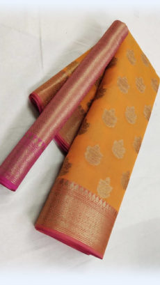 Orange Banarasi Soft Silk Saree with Fancy Design Pallu-yespoho