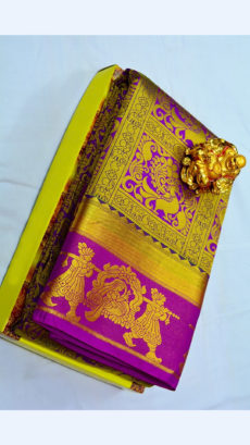 Dark Magenta Kanchipuram Semi Silk Saree With Golden Border And Bridal Design-yespoho