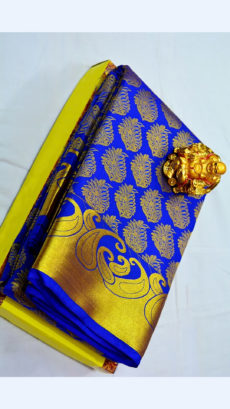 Violet Kanchipuram Semi Silk Saree With Golden Design Border-yespoho