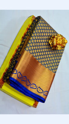 Greyish Blue Kanchipuram Semi Silk Saree With Thick Golden Border And Leaf Design-yespoho
