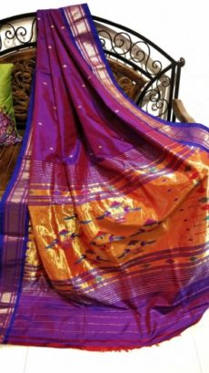 Dark Purple Paithani Silk Saree With Artistic Pallu Design-yespoho