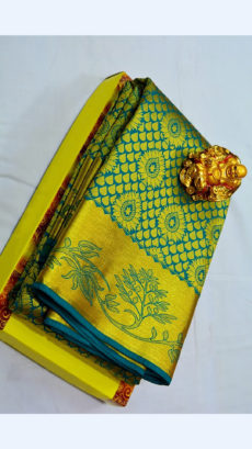 Dark Teal Kanchipuram Semi Silk Saree With Thick Golden Border And Floral Design-yespoho