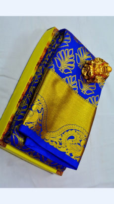 Dark Violet Kanchipuram Semi Silk Saree With Thick Golden Border And Peacock Design-yespoho