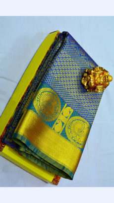 Dark Blue Kanchipuram Semi Silk Saree With Dark Teal Border And Golden Peacock Design-yespoho