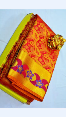 Red Kanchipuram Semi Silk Saree With Violet Floral Border Design-yespoho
