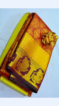 Brick Red Kanchipuram Semi Silk Saree With Thick Golden Border And Traditional Woman Design-yespoho