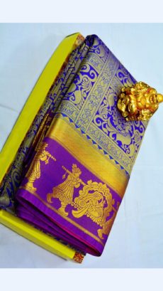 Violet Kanchipuram Semi Silk Saree With Purple Border And Traditional Golden Bridal Design-yespoho