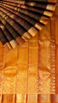 Green Pure Kanchipuram Silk Saree With Embossed Zari Design-yespoho
