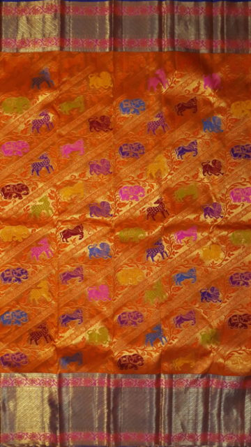 Yespoho Orange Pure Kanchipuram Silk Saree With Animal Design & Pure Zari Border