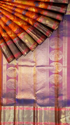 Orange Pure Kanchipuram Silk Saree With Animal Design & Pure Zari Border-yespoho