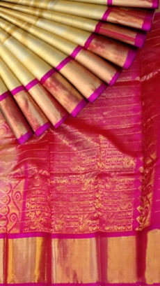 Light Cream & Dark Pink Kuppadam Saree with Thick Zari Border-yespoho