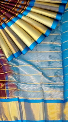 Burgundy & Royal Blue Pure Kuppadam Saree with Thick Zari Border-yespoho