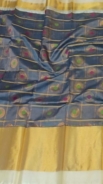 Yespoho Teal Blue & Offwhite Pure Kuppadam Saree with Thick Zari Border