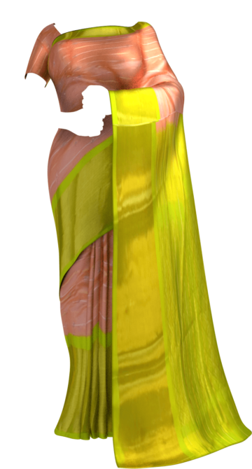 Shop Peach Pink & Lime Green Pure Kuppadam Saree with Thick Zari Border Online