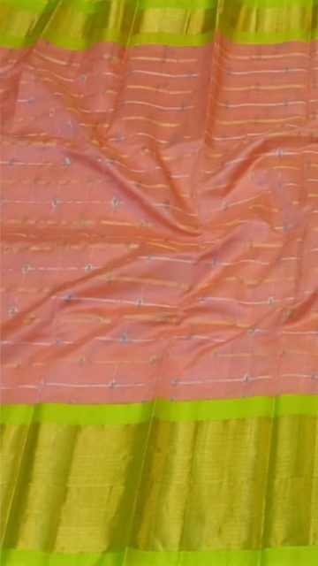 Yespoho Peach Pink & Lime Green Pure Kuppadam Saree with Thick Zari Border