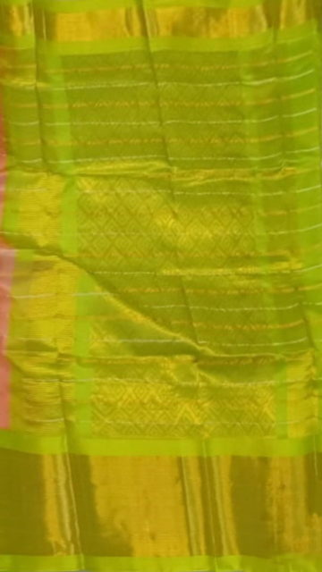 Green Peach Pink & Lime Green Pure Kuppadam Saree with Thick Zari Border