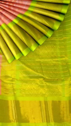 Peach Pink & Lime Green Pure Kuppadam Saree with Thick Zari Border-yespoho