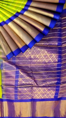 Lime Green & Royal Blue Pure Kuppadam Saree with Thick Zari Border-yespoho