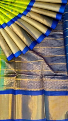 Lime Green & Royal Blue Pure Kuppadam Saree with butta design & Thick Zari Border-yespoho