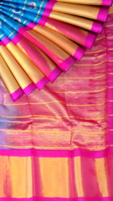 Ananda Sky Blue & Magenta Pure Kuppadam Saree with butta design & Thick Zari Border-yespoho