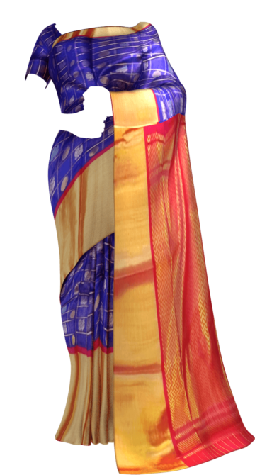 Shop Royal Blue & Dark Red Pure Kuppadam Saree with Thick Zari Border Online