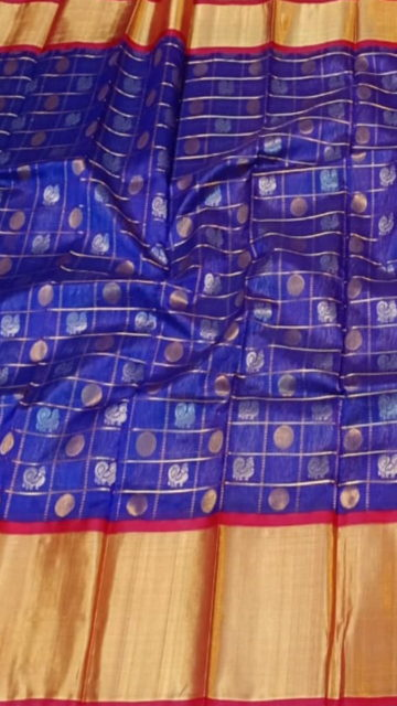 Yespoho Royal Blue & Dark Red Pure Kuppadam Saree with Thick Zari Border