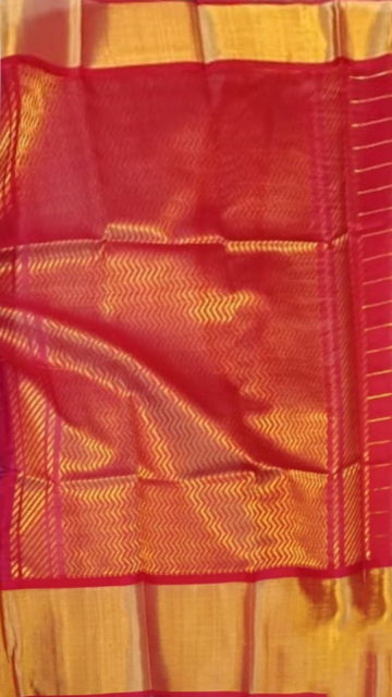 Red Royal Blue & Dark Red Pure Kuppadam Saree with Thick Zari Border
