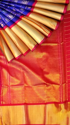 Royal Blue & Dark Red Pure Kuppadam Saree with Thick Zari Border-yespoho