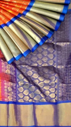 Orange & Blue Kuppadam Saree with Thick Zari Border-yespoho
