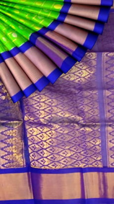 Green & Royal Blue Kuppadam Saree with Thick Zari Border-yespoho