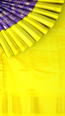 Voilet & Yellow Kuppadam Saree with Thick Zari Border-yespoho
