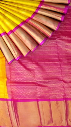 Yellow & Magenta Pure Kuppadam Saree with Thick Zari Border-yespoho