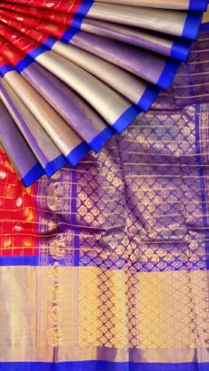 Red & Royal Blue Pure Kuppadam Saree with Thick Zari Border-yespoho