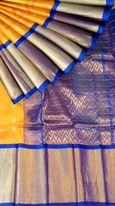 Mango Yellow & Royal Blue Pure Kuppadam Saree with Thick Zari Border-yespoho