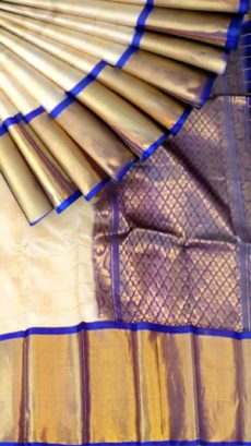 Off White & Royal Blue Pure Kuppadam Saree with Thick Zari Border-yespoho
